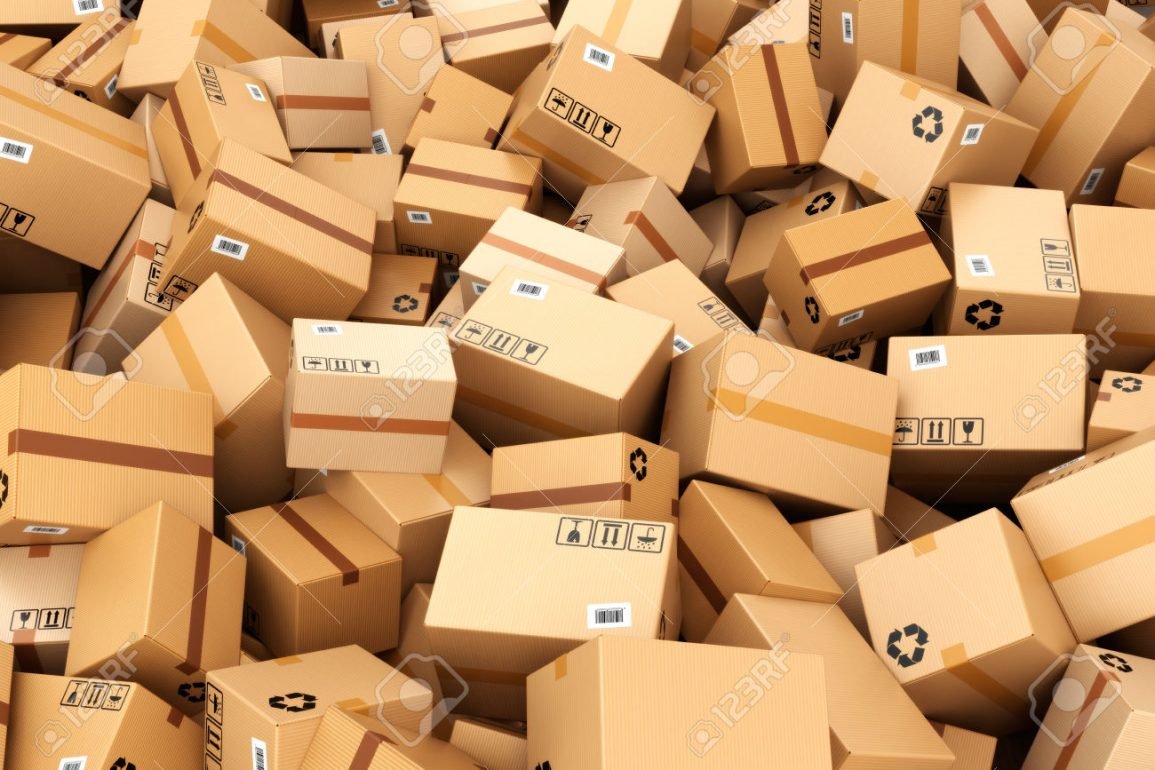 Stack of cardboard delivery boxes or parcels. Warehouse concept