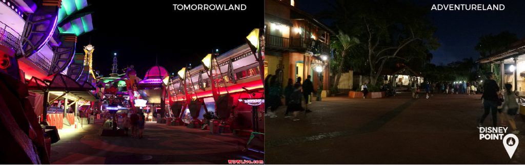 Adventureland e Tomorrowland a noite