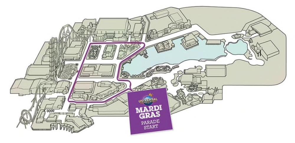 Circuito da Parada de Mardi Gras, que percorre as áreas Hollywood, Production Central e New York.