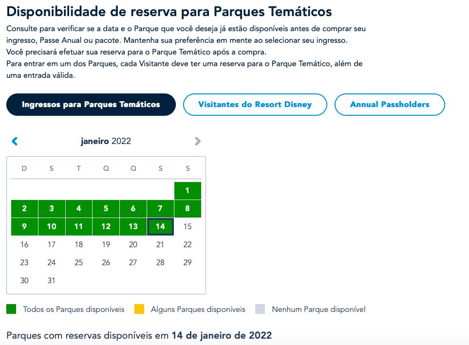 Calendário Disney Park Pass 2022