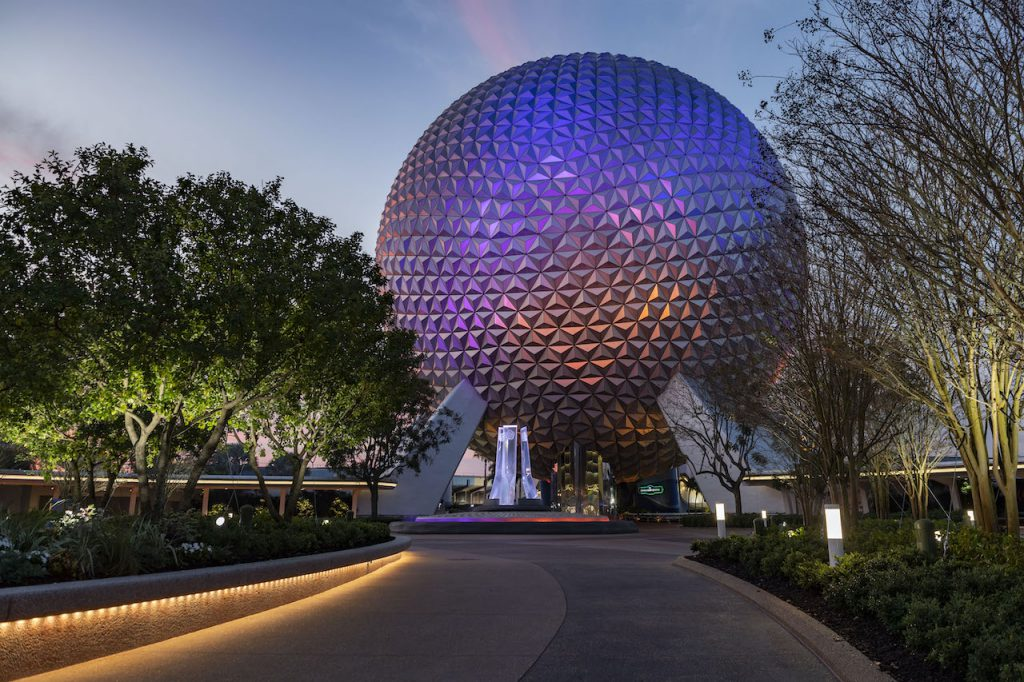 nova fonte entrada Epcot vista de longe Disney